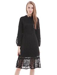 casual / dia vestido solto sólida boutique s das mulheres, em torno do pescoço de poliéster midi