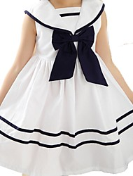 Girl's White Dress,Bow Cotton Summer / Spring