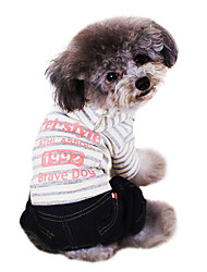 Dog Clothes/Jumpsuit Pink Dog Clothes Winter Stripe / Letter & Number Cowboy / Fashion