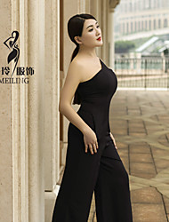 Single shoulder collect waist show thin sleeveless conjoined trousers