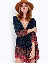 Women's Casual / Day Print Loose Dress , Deep V Midi Cotton
