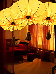 Creative Personality Round Big Red Lantern Lotus Leaf Wedding Festival Cloth Art Chandelier Lamp LED Light