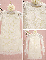 Lanting Bride Sheath / Column Knee-length Flower Girl Dress - Lace Long Sleeve Jewel with Lace
