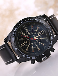 Men's Black/White Case Black Leather Band Sports Style Watch Jewelry Cool Watch Unique Watch