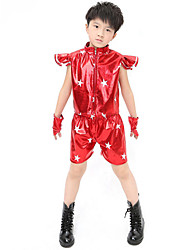Jazz Outfits Children's Performance Sequined Sequins 2 Pieces Black / Blue / Red