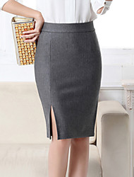 Women's Solid Blue / Red / Black / Gray Skirts , Sexy / Club Mini