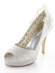 Women's Shoes Stretch Satin Spring / Summer Heels / Peep Toe / Round Toe Wedding / Dress / Party & Evening Stiletto Heel Ivory