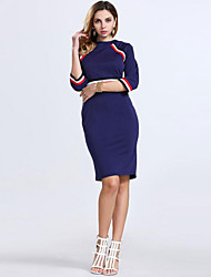 Women's Casual/Daily Street chic A Line / Sheath Dress,Color Block Round Neck Knee-length ¾ Sleeve Blue / White / Black Polyester Spring