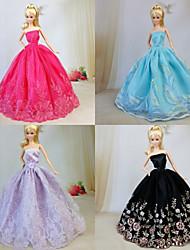 Barbie Doll - Festa e Noite - Vermelho / roxo claro / Preto / Azul Céu - de Organza / Renda - Vestidos - com Vestidos