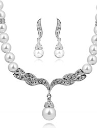 HKTC Party Jewelry White Gold Plated Imitation Pearl Strand Earrings and Necklace Set Bridal for Women