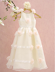 Lanting Bride ® A-line Tea-length Flower Girl Dress - Organza Sleeveless Scoop with Flower(s)