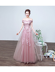 Formal Evening Dress - Pearl Pink A-line Bateau Floor-length Lace