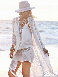 Women's Bandeau Cover-Ups , Tassels One-Pieces Lace / Polyester White