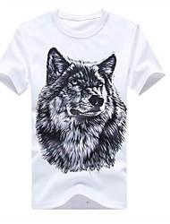 Herren T-shirt-Druck Freizeit Baumwolle Kurz-Schwarz / Blau / Weiß