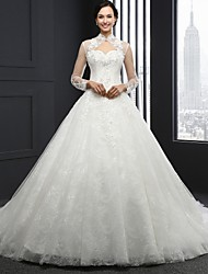 A-Line High Neck Chapel Train Lace Wedding Dress with Beading by