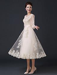 Formal Evening Dress A-line Jewel Tea-length Satin / Tulle