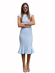 Women's Street chic Solid Trumpet/Mermaid Dress,Crew Neck Knee-length Polyester