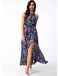 Women's Sexy / Holiday Print Swing Dress , Crew Neck Maxi Cotton