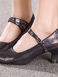 Non Customizable Women's Dance Shoes Latin / Salsa Flocking / Sparkling Glitter Cuban Heel Black / Blue