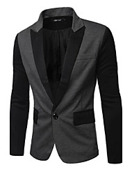 Suits Slim Fit Notch Single Breasted One-button Cotton Blend Solid 1 Piece Gray / Navy Blue