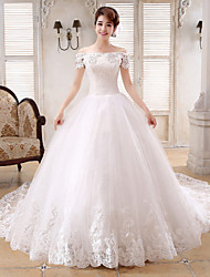 Ball Gown Wedding Dress-Chapel Train Bateau Satin / Tulle