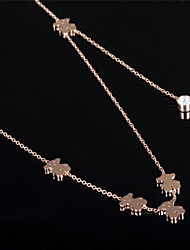 Little Bear Ms 18K Gold Titanium Steel Necklaces