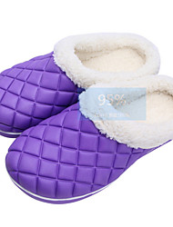 Women's Shoes Cotton Flat Heel Slippers / Closed Toe Slippers Casual Green / Purple