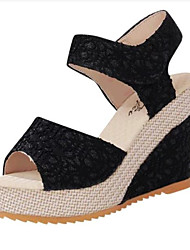 Women's Shoes Leatherette Wedge Heel Wedges Sandals Casual Black / Beige