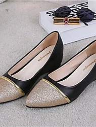 Women's Shoes Leatherette Flat Heel Comfort Flats Outdoor / Casual Black / White / Silver