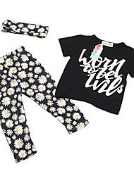 Girl's Floral Clothing Set,Cotton Summer Black