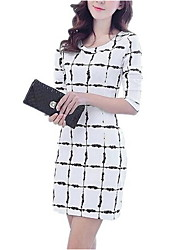 Women's Casual / Day Geometric A Line Dress , Round Neck Above Knee Spandex Korean Dress