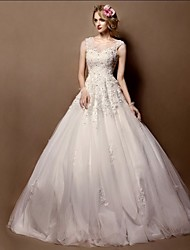 Ball Gown Wedding Dress Court Train Jewel Lace / Tulle with Crystal / Lace
