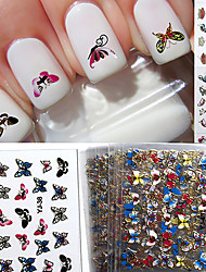 24 Mixed 3D Nail Stickers Decals Brilliant Butterfly Series