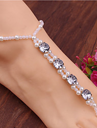 2Pcs Rhinestone Pearl Anklet Chain Barefoot Sandals Bridemaids Wedding Jewelry Toe Ring Anklets