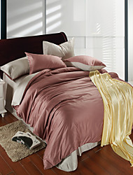 Light brown and silver gray 100% Tencel Soft Bedding Sets Queen King Size Solid color Duvet Cover Set