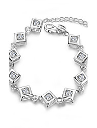 Lureme® Fashion Classic Silver Plated Jewelry Square with Zircon Bracelet for Women