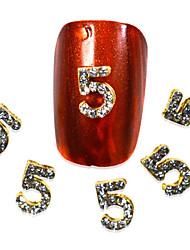 10pcs NO.5 Shape Nail Art Rhinestones 2016 Nail Art Decorations Nails Tips 3d Metal  DIY Accessory NC267