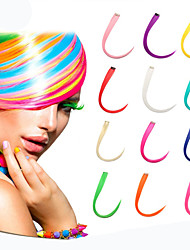 reta sintética longa e grampo em extensões do cabelo com 1 clipes de 14 cores