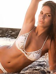 Women's Bandeau Bikinis,Solid Adjustable / Wireless Roman Knit White