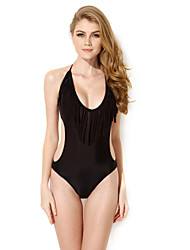 New Sexy Black One-piece Swimwear with Fringe and Side Cut-outs in Low Price