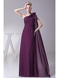 Floor-length Chiffon Bridesmaid Dress Ball Gown One Shoulder with Beading / Flower(s)
