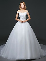 Ball Gown Wedding Dress - White Cathedral Train Off-the-shoulder Tulle