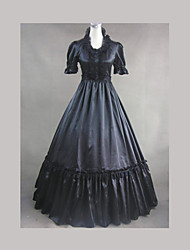 Top Sale Gothic Lolita Dress Vintage  Victorian Black Satin Dress