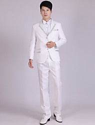 Suits Tailored Fit Notch Single Breasted Three-buttons Polyester Stripes 4 Pieces White