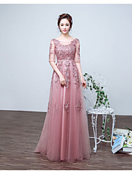 Formal Evening Dress A-line Jewel Floor-length Lace / Tulle with Lace