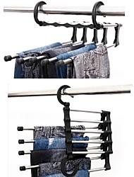 multi-fonctionnelle en acier inoxydable 5 couches cravate serviettes vêtements cintre pantalon multicouches crémaillère télescopique