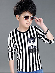 Boy's Cotton Spring/Fall Fashion Cartoon Pattern Round Collar Stripes Tee