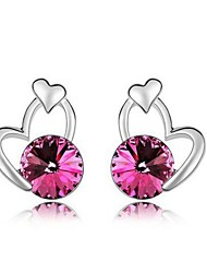 Austria Crystal Stud Earrings for Women Heart Earrings Fashion Jewelry Accessories Silver Plated