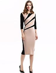Women's Vintage / Work Patchwork Plus Size / Sheath Dress , Round Neck Knee-length Slim Fit Dress