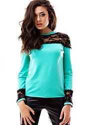 Women's Spring T-shirt,Patchwork Round Neck Long Sleeve Blue / White Cotton / Rayon Medium